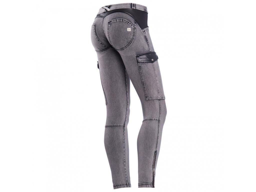 Freddy kalhoty v šedivé džínové, kožené prvky, kapsy na stranách, zip