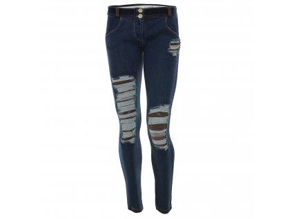 Freddy kalhoty džínové modré, potrhané kolena, normální pas, maskáčový vzor, skinny střih