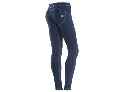 Freddy kalhoty v džínově tmavě modré, normální pas, zlatý šev, skinny střih