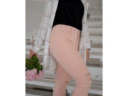 N.O.W.® Freddy kalhoty v lososové barvě, potrhání z přední strany, slim fit