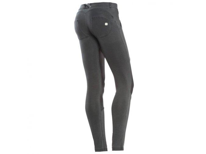 Freddy kalhoty v tmavě šedivé barvě s koženým efektem, skinny střih