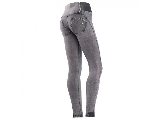 Freddy kalhoty v šedivé džínové, kožené prvky, vysoký pas