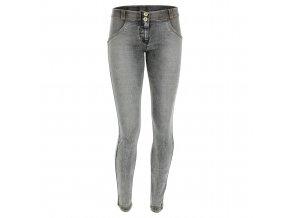 Freddy WR.UP kalhoty v džínově šedivé, normální pas, opraný efekt a žlutý šev