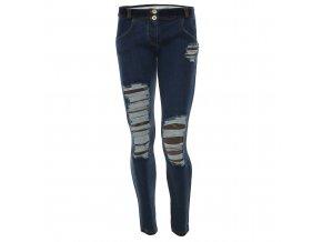 Freddy kalhoty džínové modré, potrhané kolena, normální pas, maskáčový vzor