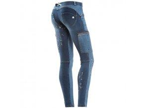 Freddy kalhoty v džínově modré, vzory+kapsy