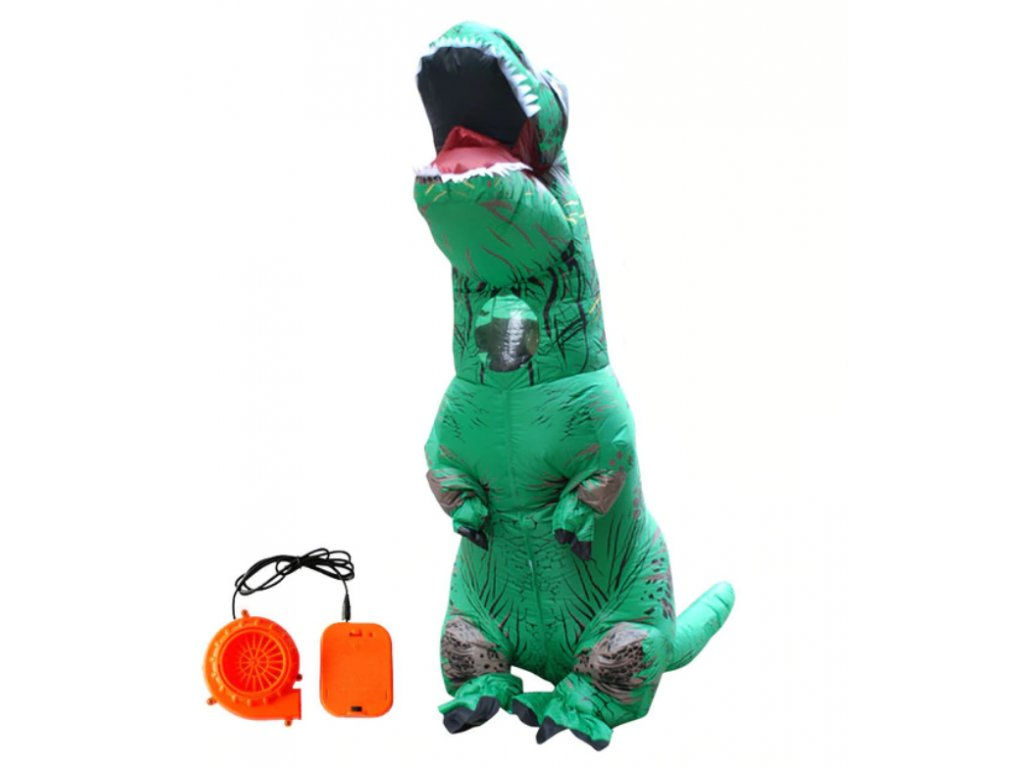Nafukovací kostým dinosaura - zelený