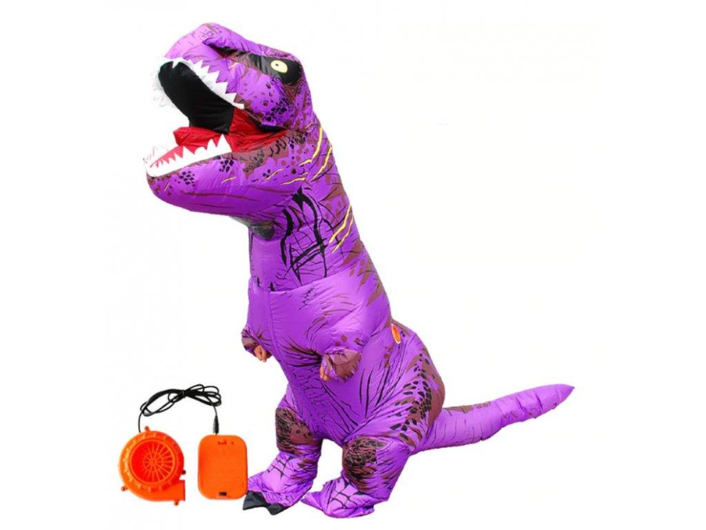 Nafukovací kostým dinosaura - fialový