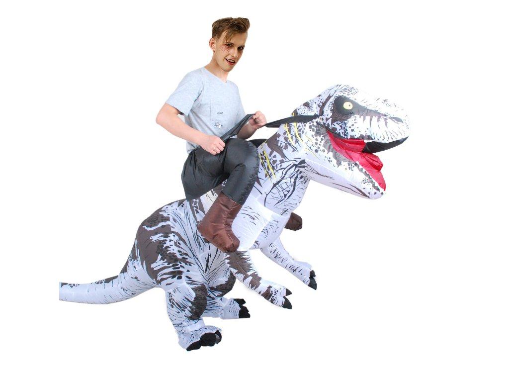 Nafukovací kostým dinosaura - bílý