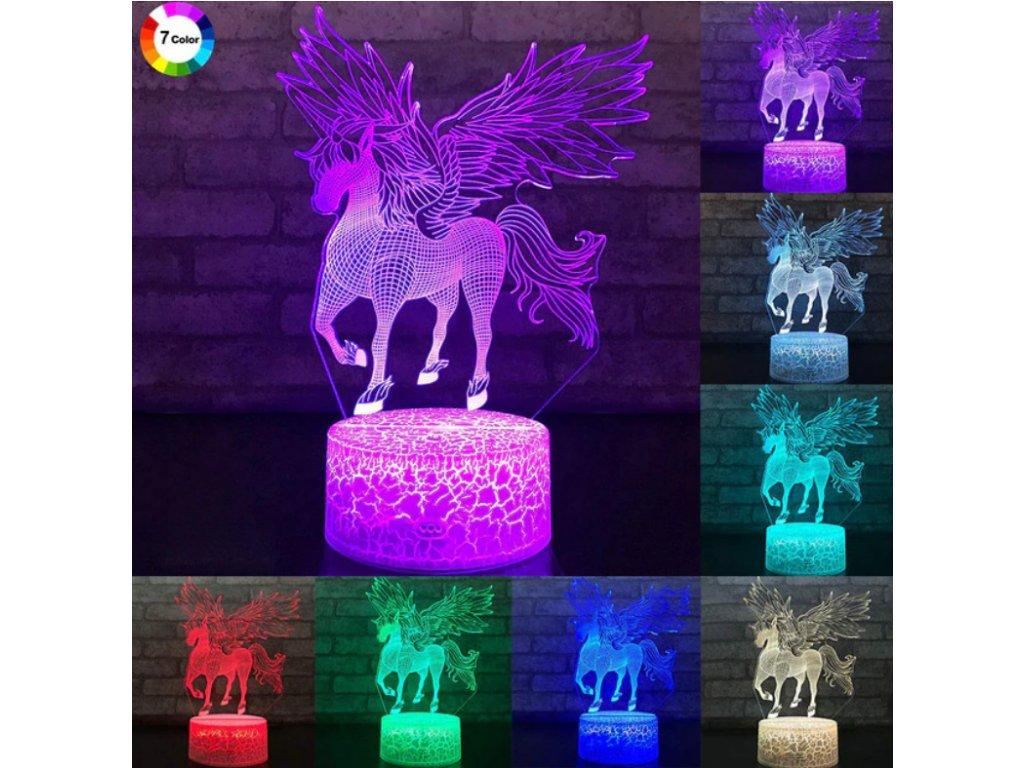 Lampa s 3D iluzí - Jednorožec