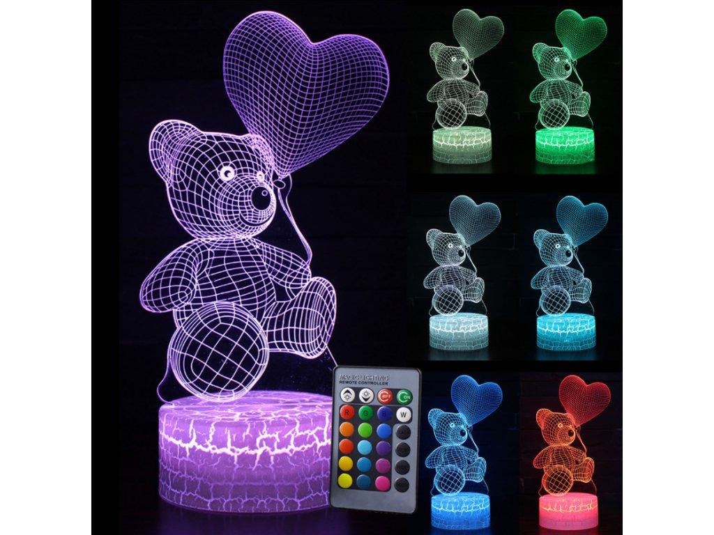Lampa s 3D iluzí - Medvídek