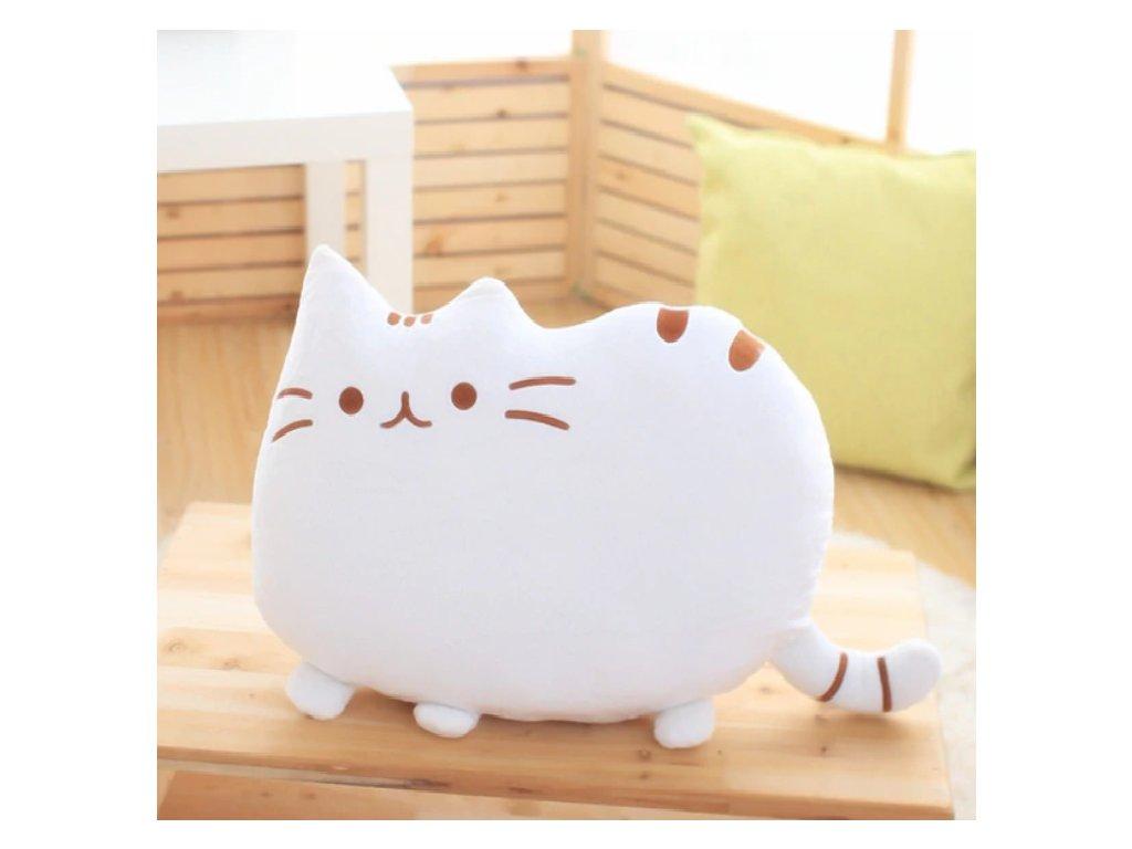 Plyšová kočka - dekorační polštářek, bílý