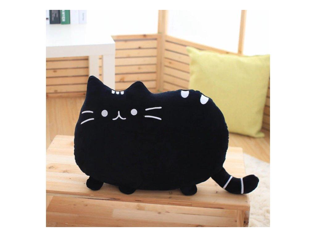 Plyšová kočka - dekorační polštářek, černý