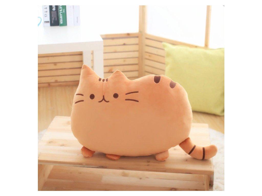 Plyšová kočka - dekorační polštářek, hnědý