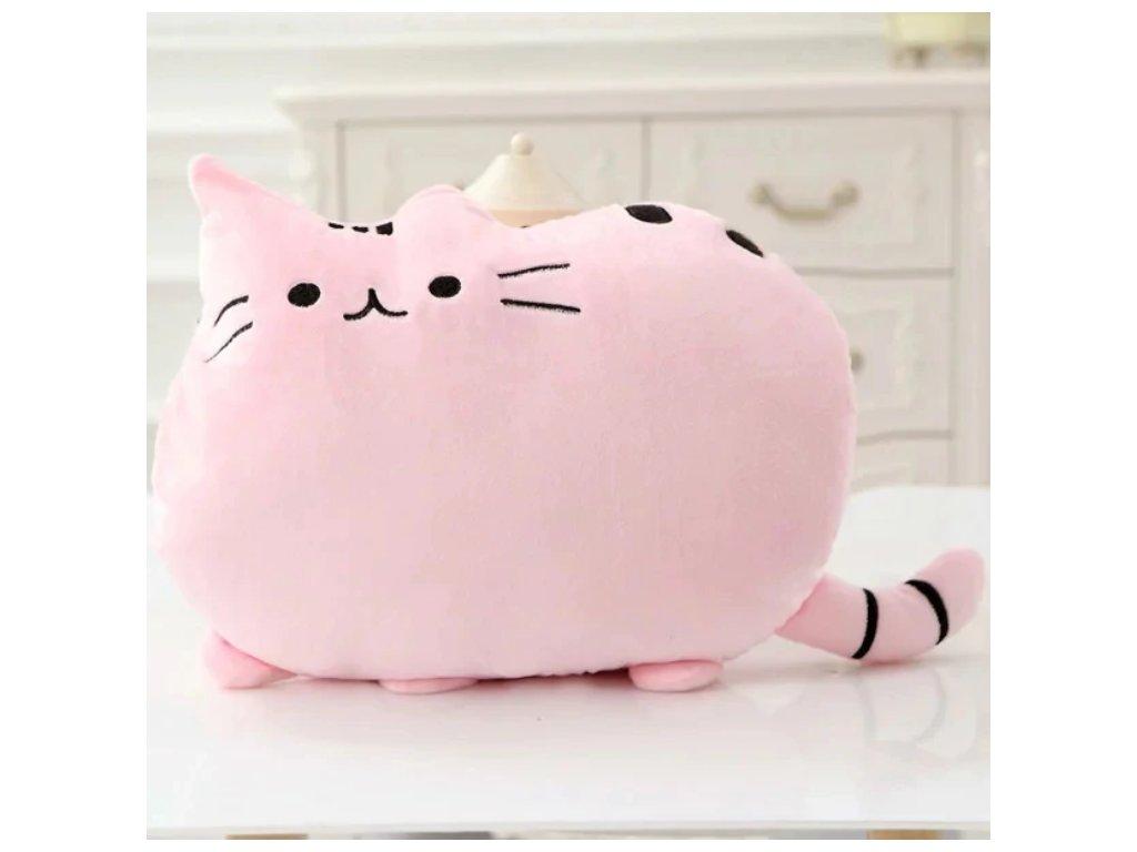 Plyšová kočka - dekorační polštářek, růžový