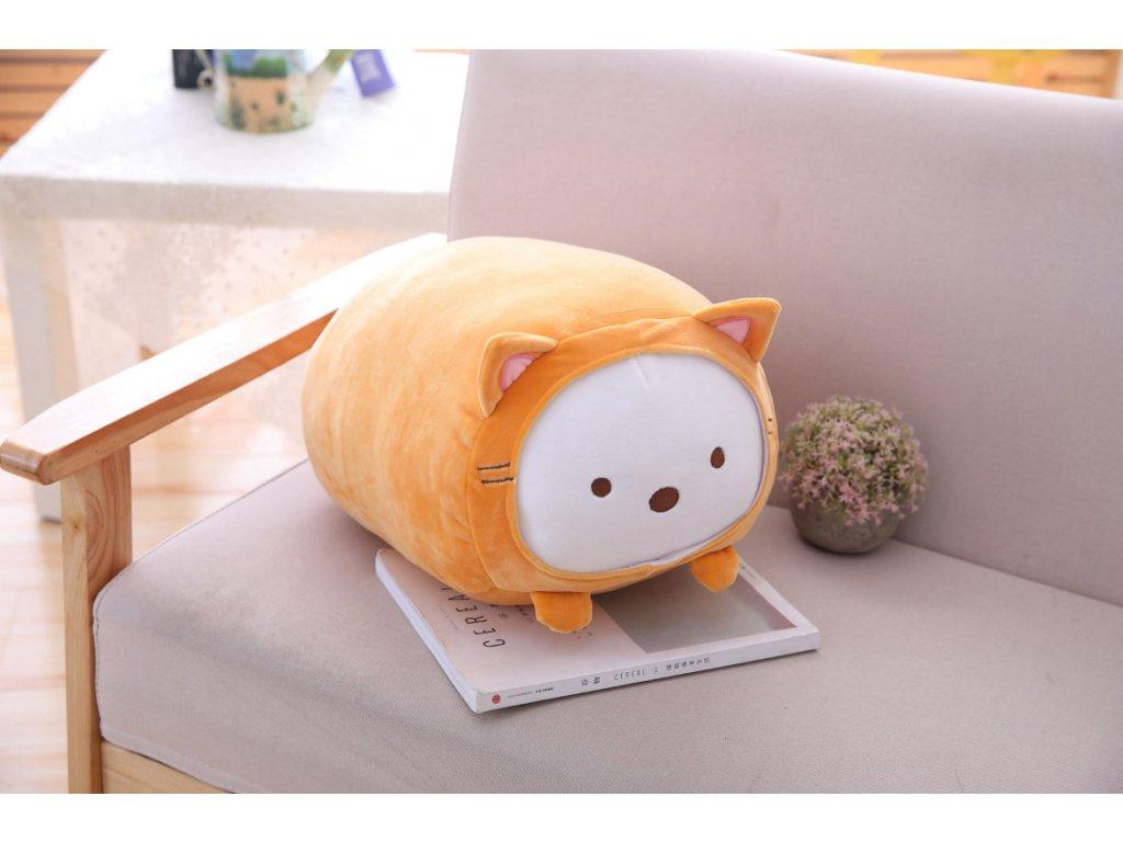 Plyšové prasátko - dekorační polštářek, oranžový