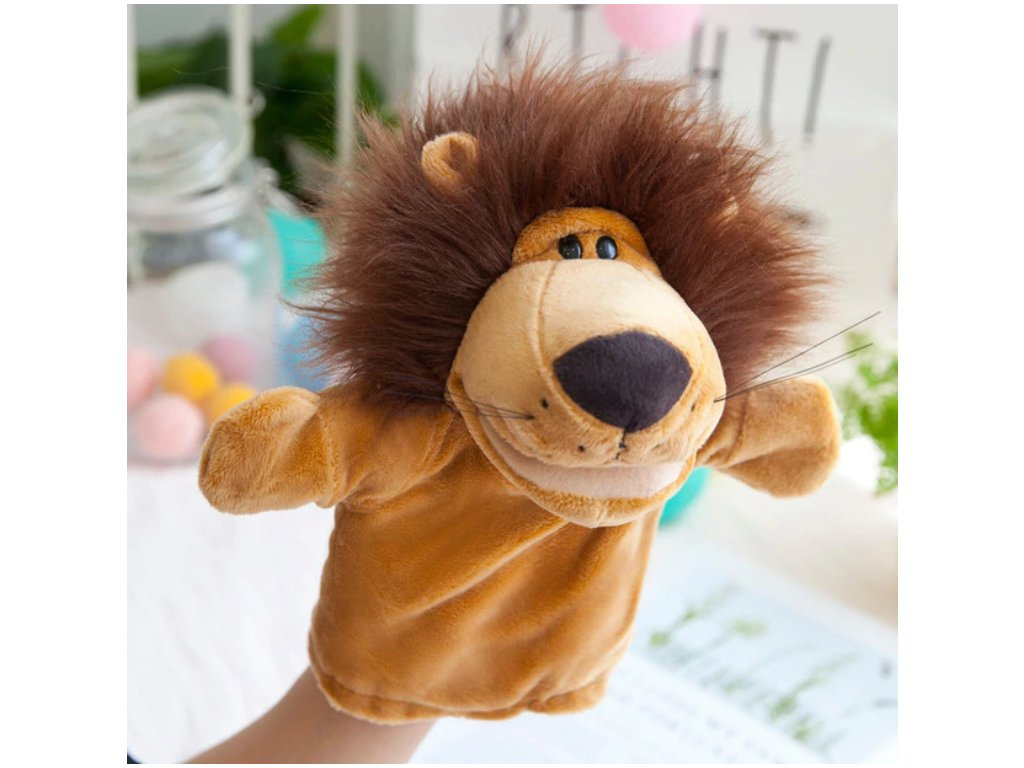 Plyšový maňásek na ruku - Lev