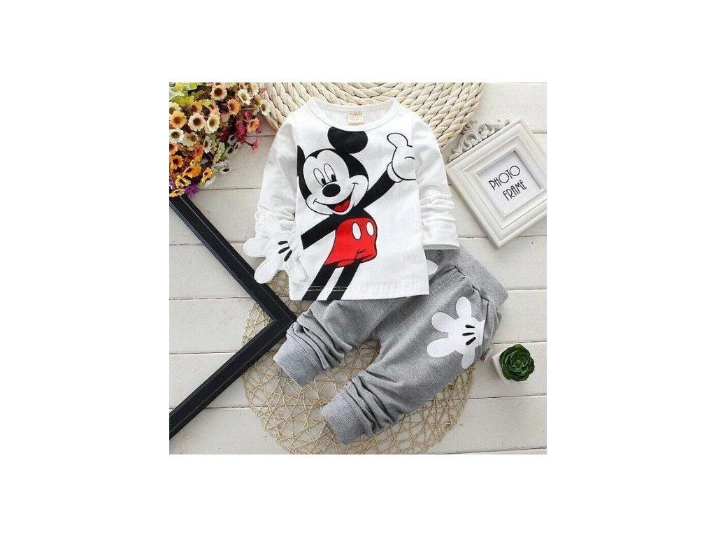 Dětská tepláková souprava - Mickey Mouse - šedobílá