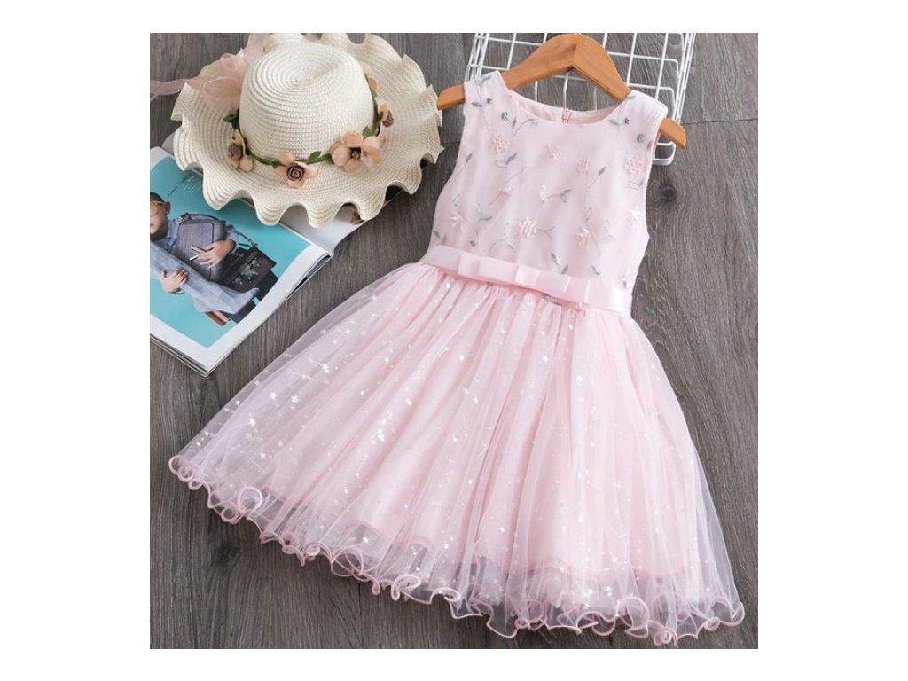 Dětské šaty - Květiny - růžové