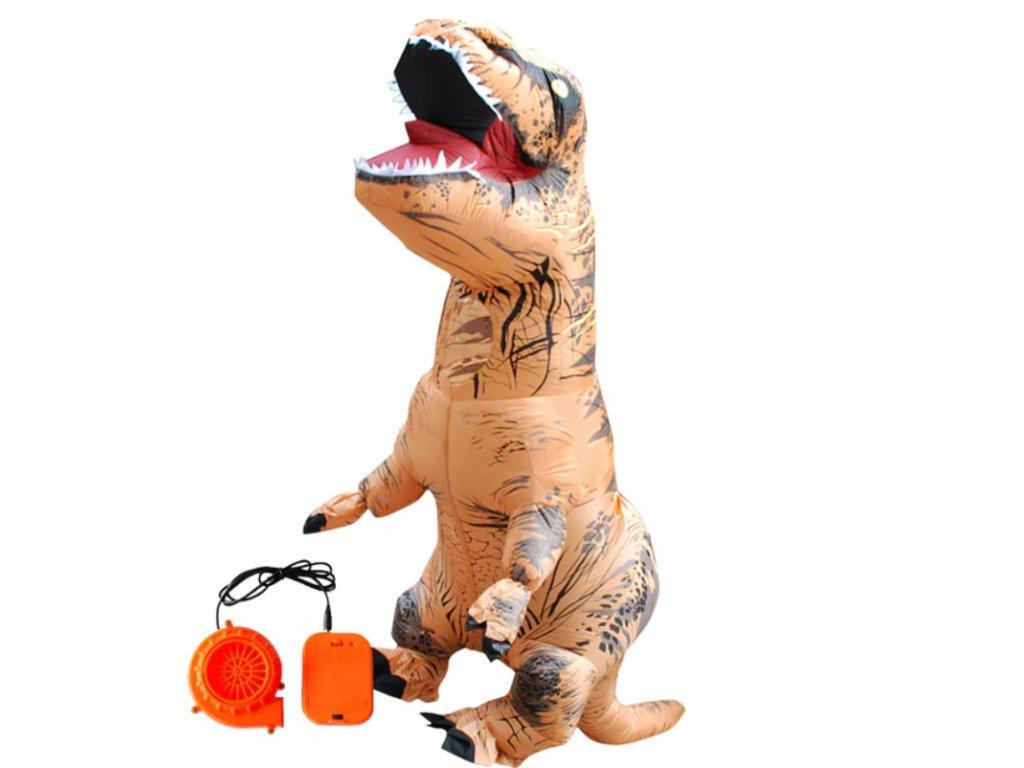 Nafukovací kostým dinosaura - hnědý