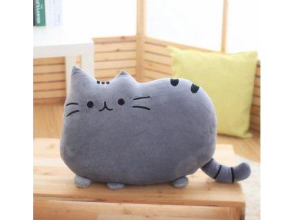 Plyšová kočka - dekorační polštářek, šedý