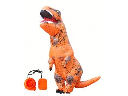 Nafukovací kostým dinosaura - oranžový