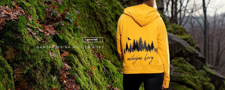 Dámska mikina žltá s kapucňou Milujem hory