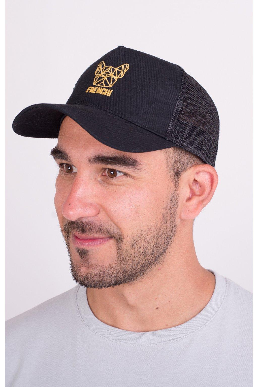 Kšiltovka Trucker se síťovinou černá + zlaté logo