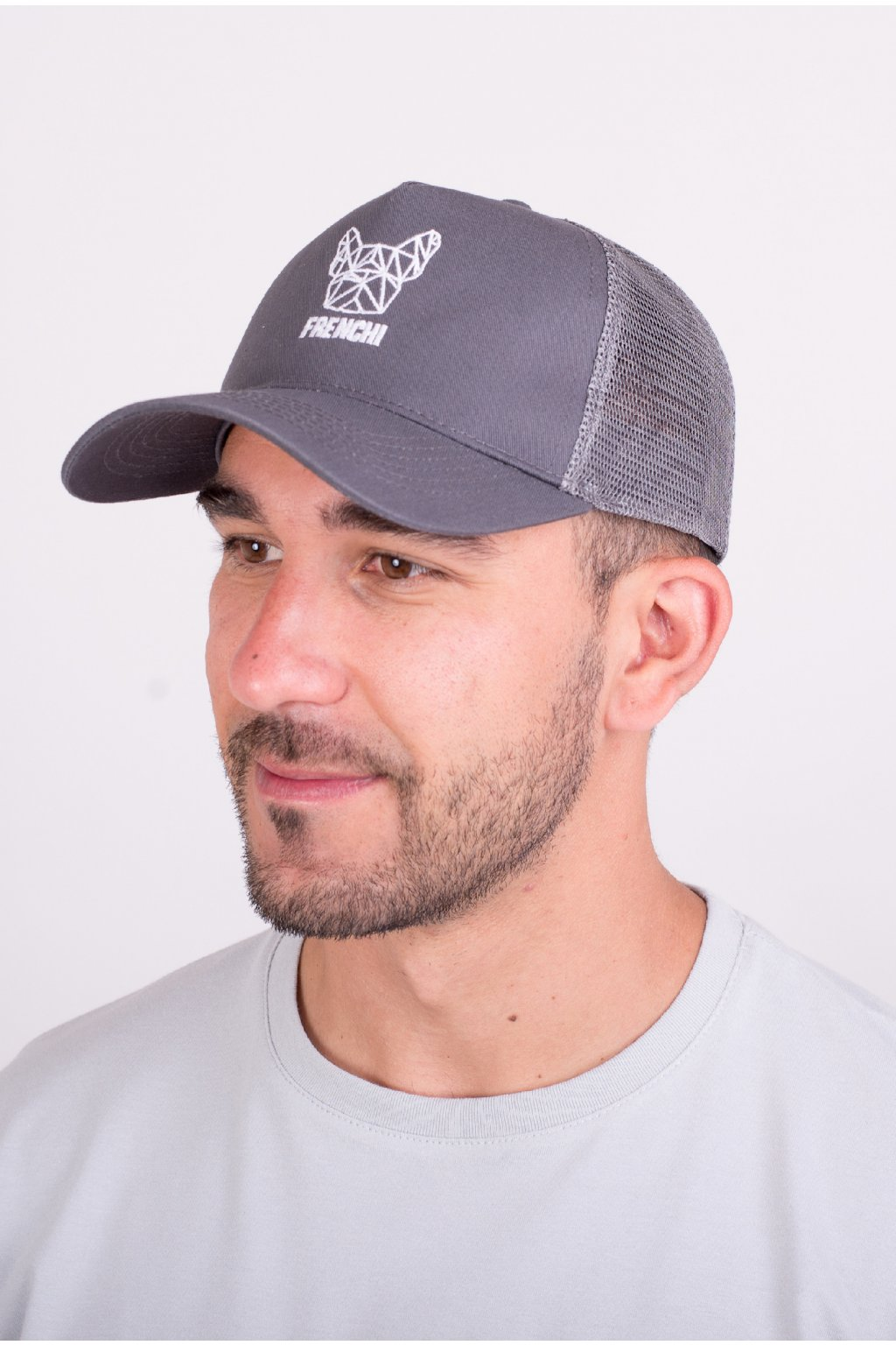 Kšiltovka Trucker se síťovinou šedá + bílé logo