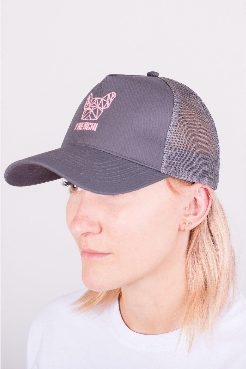 Kšiltovka Trucker se síťovinou šedá + růžové logo