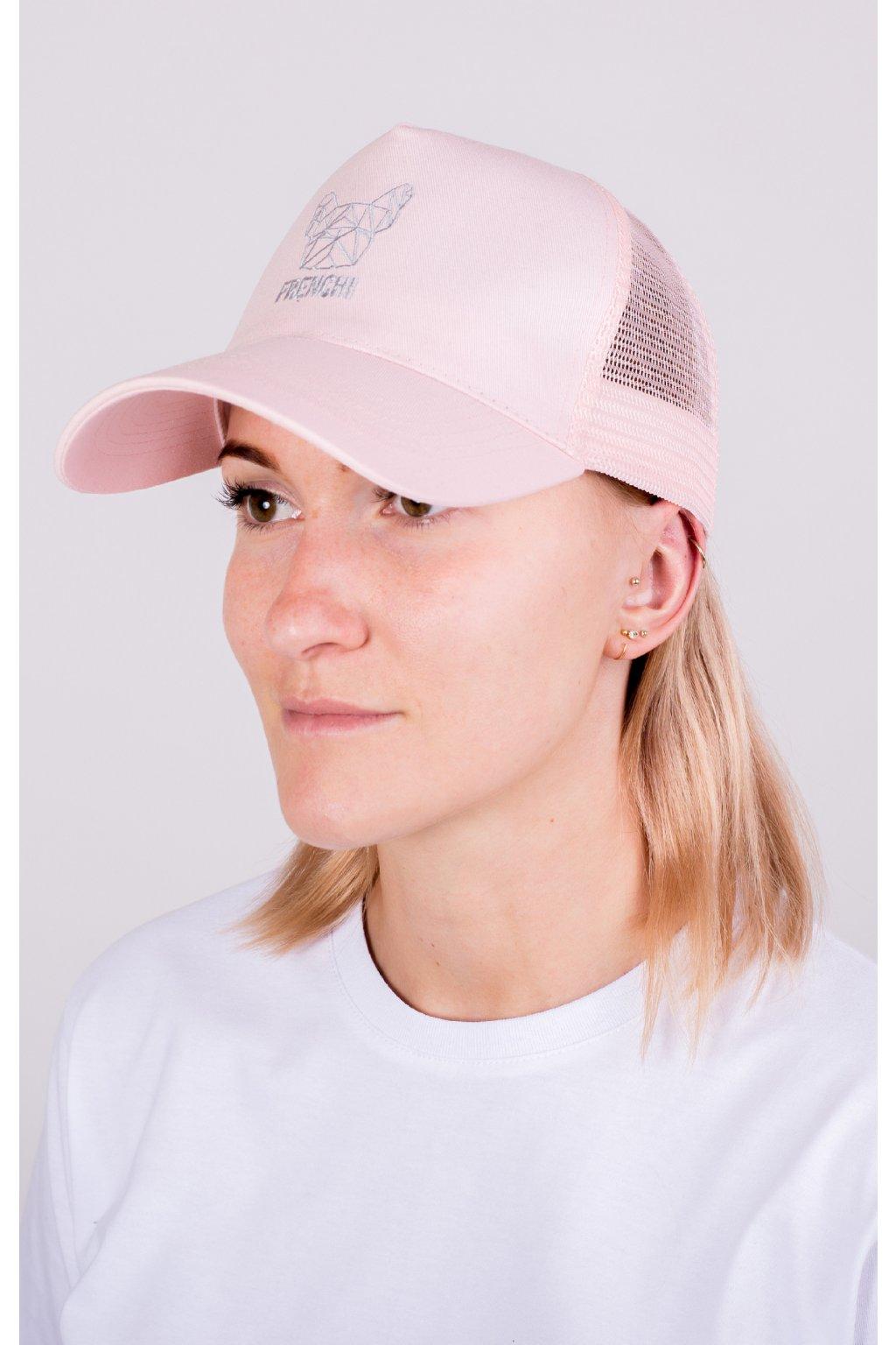 Kšiltovka Trucker se síťovinou růžová + stříbrné logo