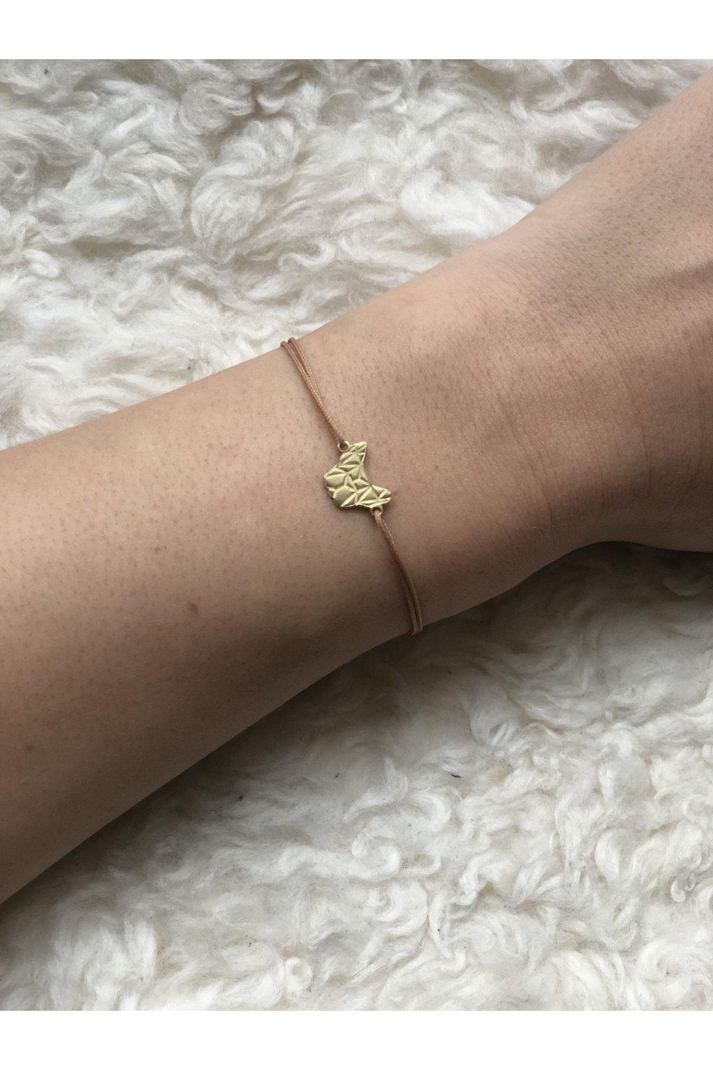 Náramek GEO zlatý + starorůžová šňůrka