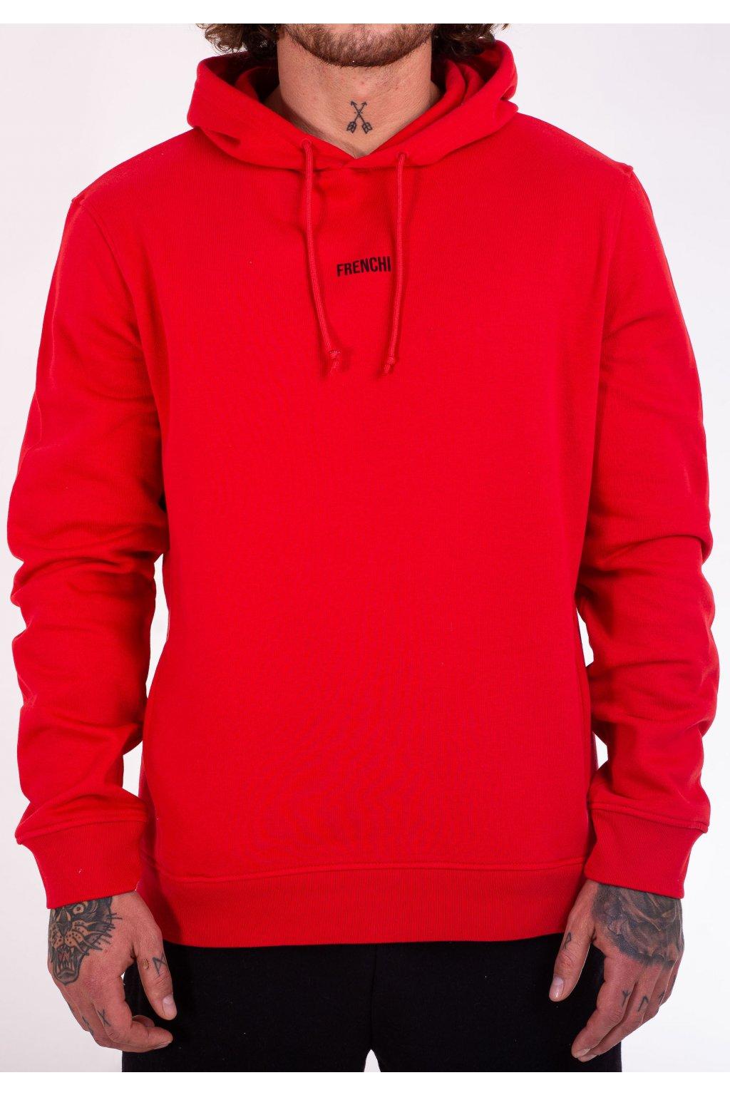 Pánská mikina s kapucí červená