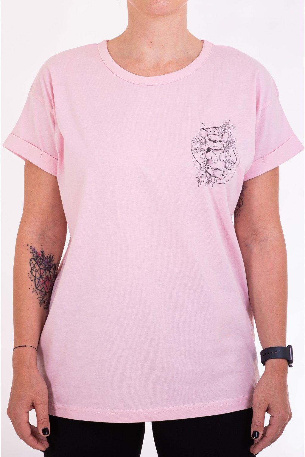 Dámské tričko PUPPY oversized růžové