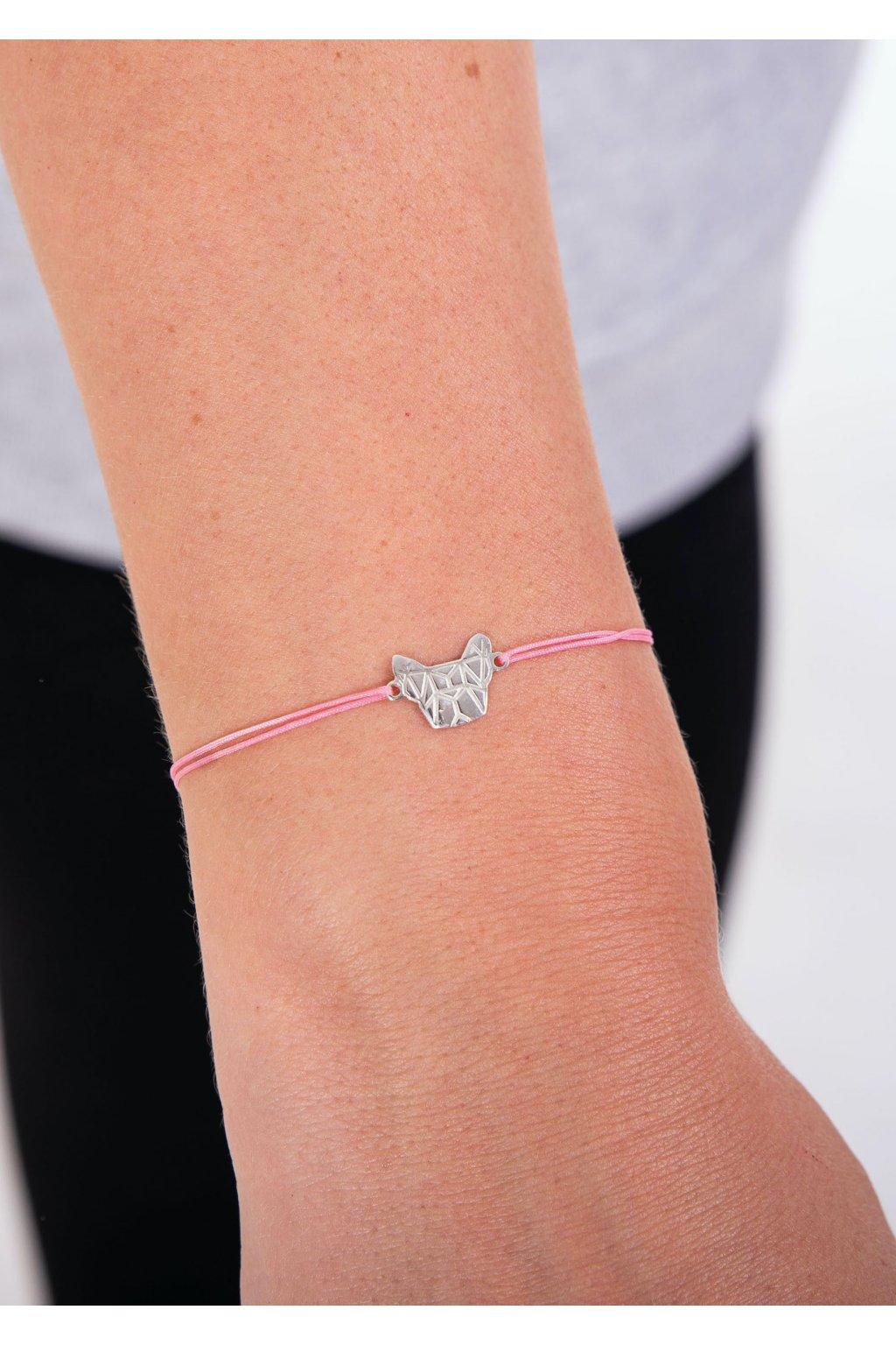 Náramek GEO stříbrný + růžová šňůrka