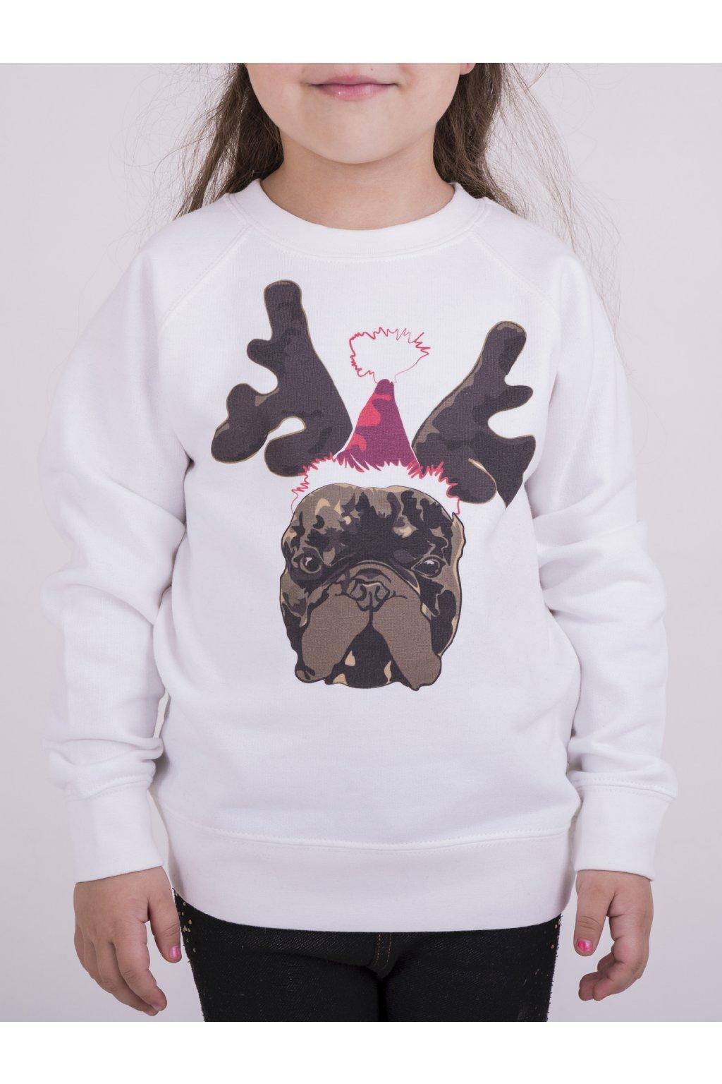 Dětská mikina bílá Vánoční Franta