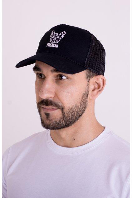 Kšiltovka Trucker se síťovinou černá + bílé logo