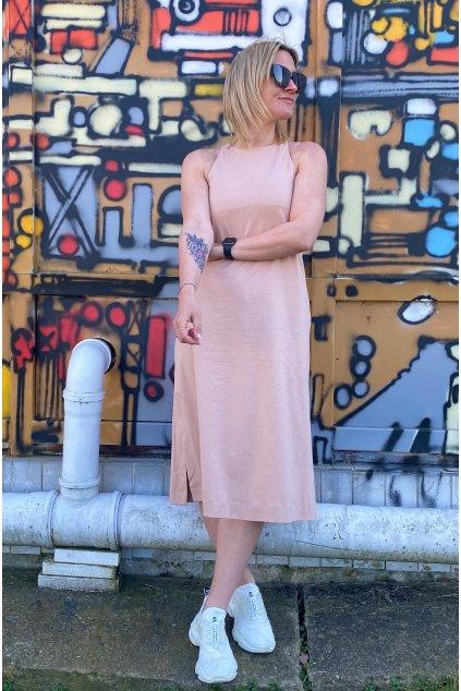 Dámské midi šaty CUTE pudrově růžové