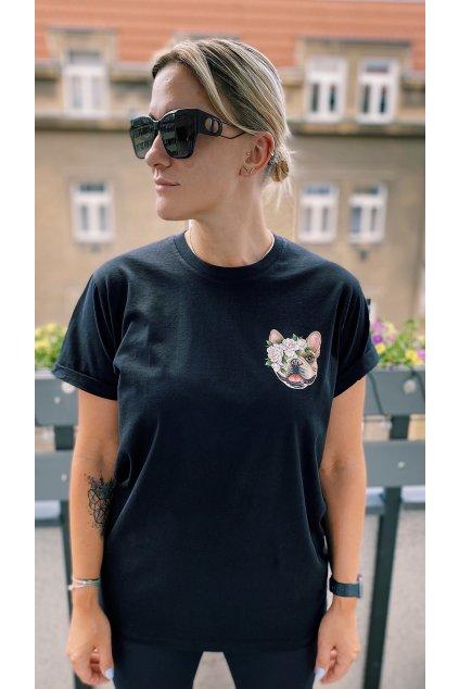 Unisex tričko PEONY černé - PreOrder