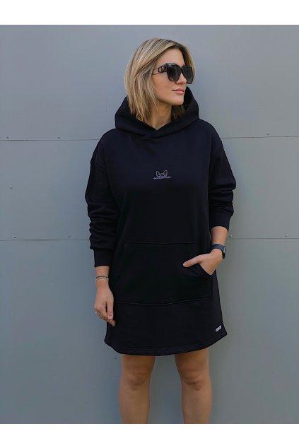 Dámské mikinové šaty CUTE černé