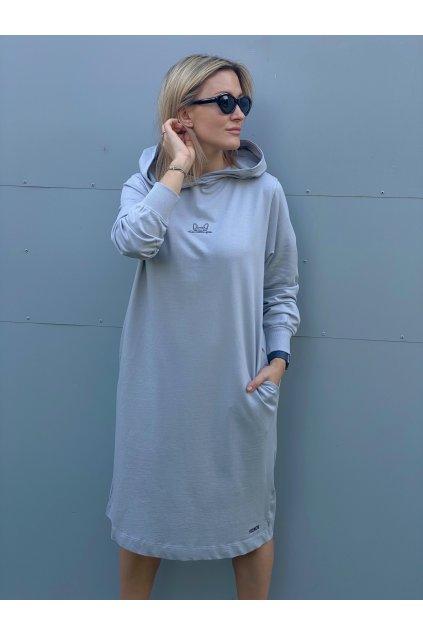 Dámské midi mikinové šaty CUTE šedé