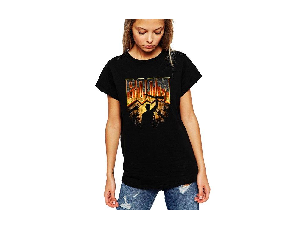 dámské černé tričko DOOM Boom
