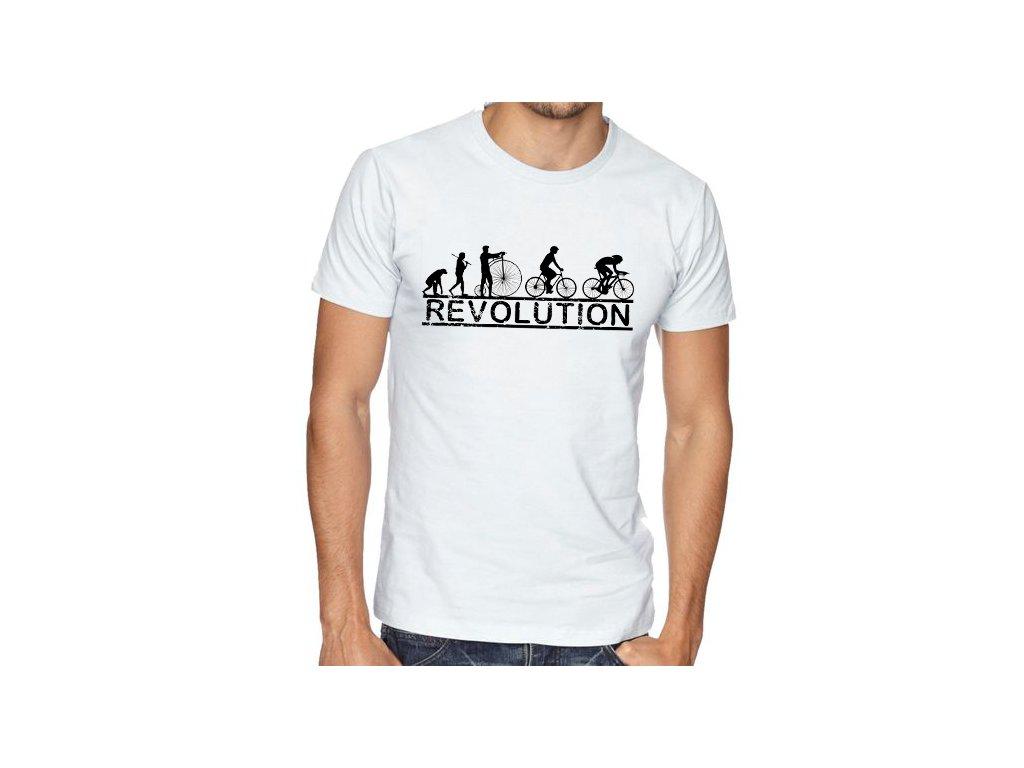 pánské bílé tričko Cyklistika Revoluce