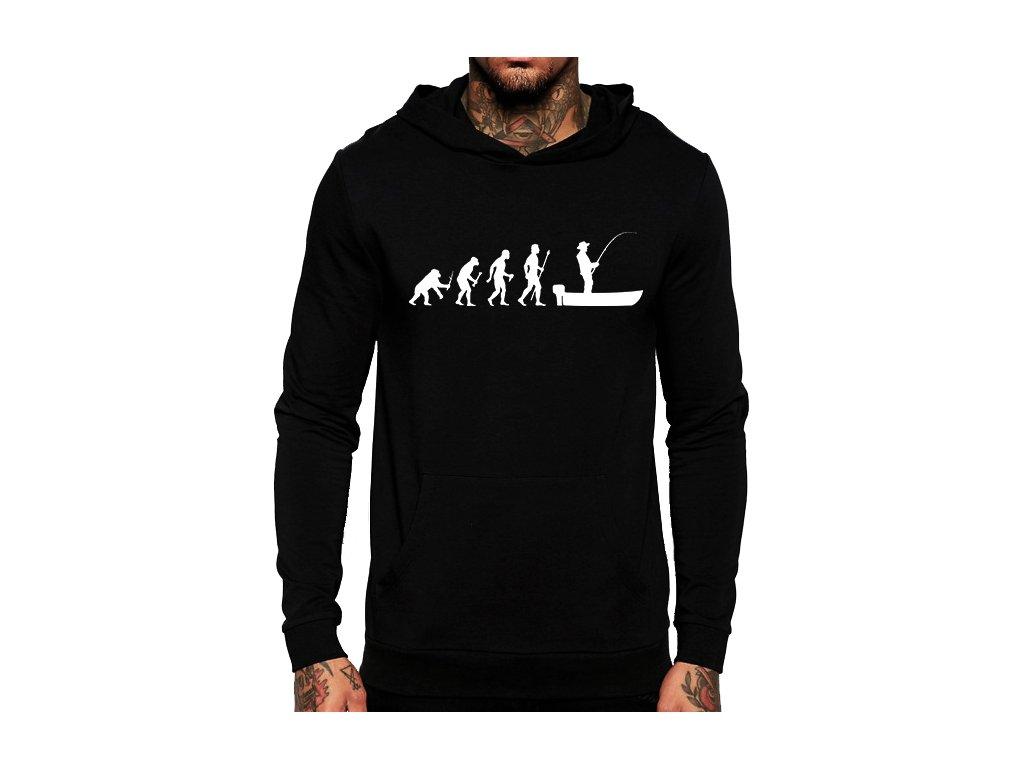 unisex černá mikina s kapucí evoluce rybář