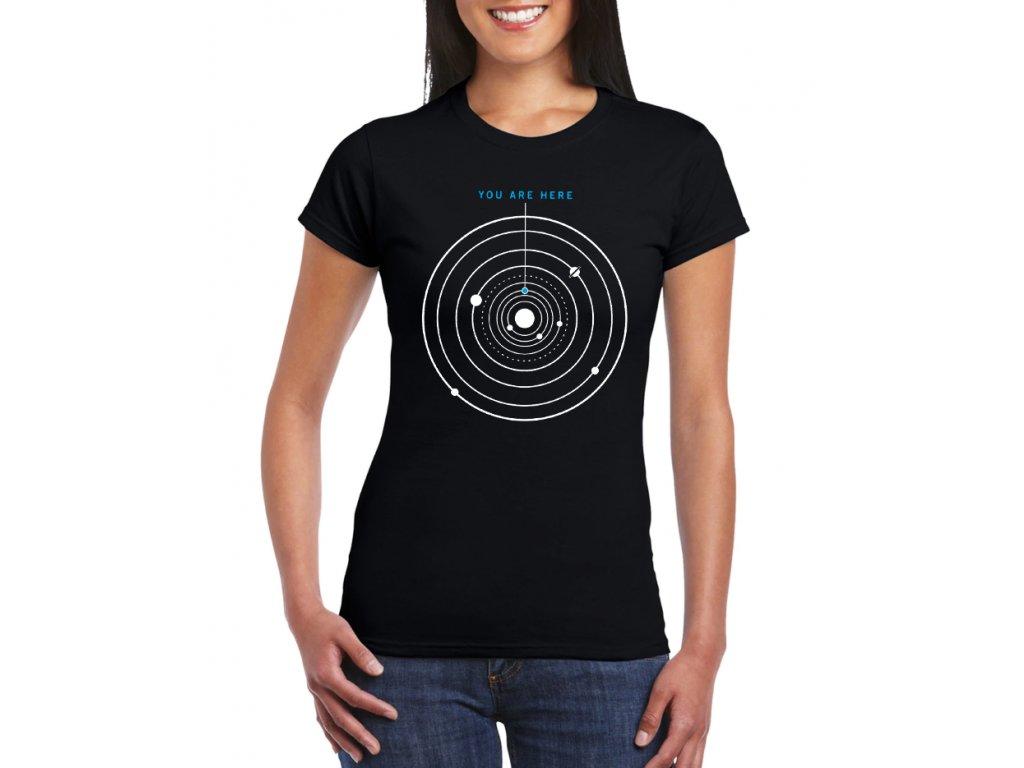Dámské černé tričko vesmír tady jsi ty