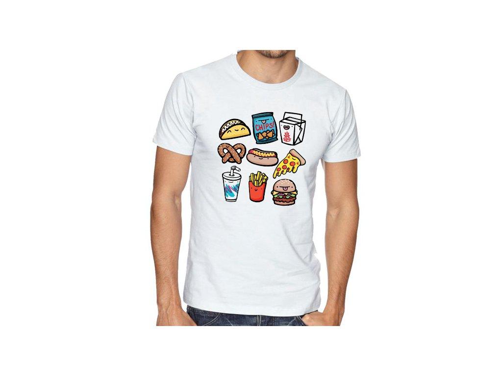 pánské bílé tričko nezdravé jídlo