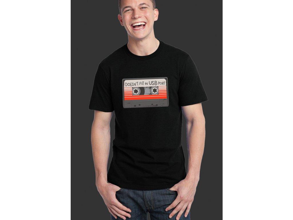 pánské černé tričko usb port - disketa