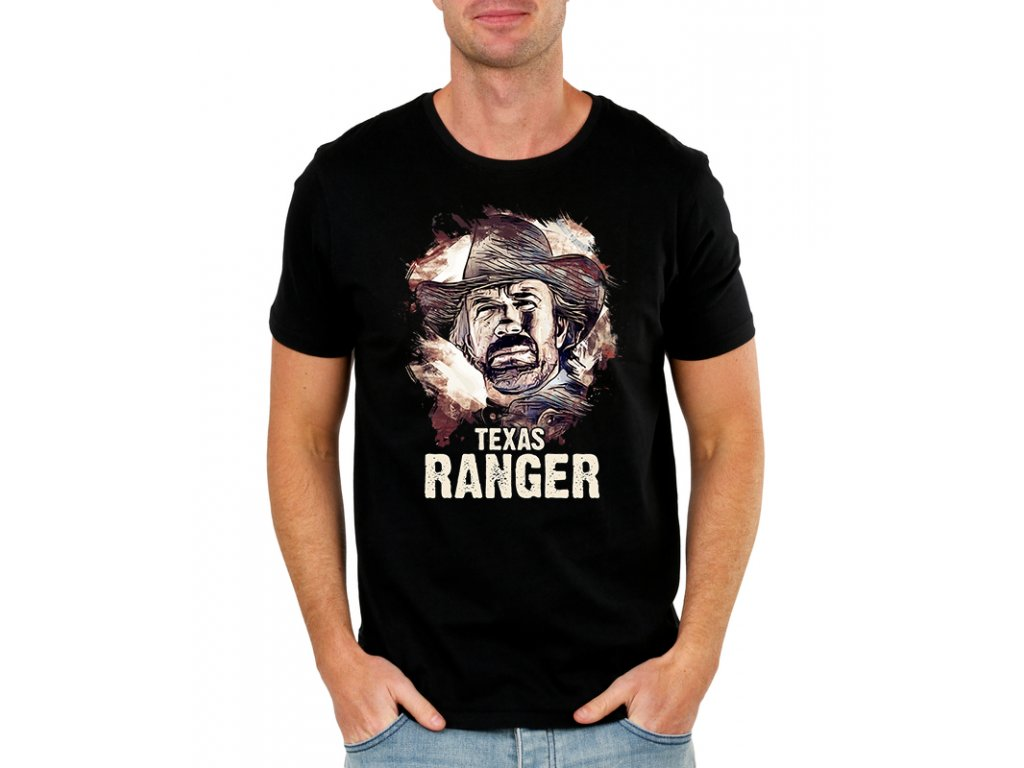 pánské černé tričko Chuck Norris texas ranger
