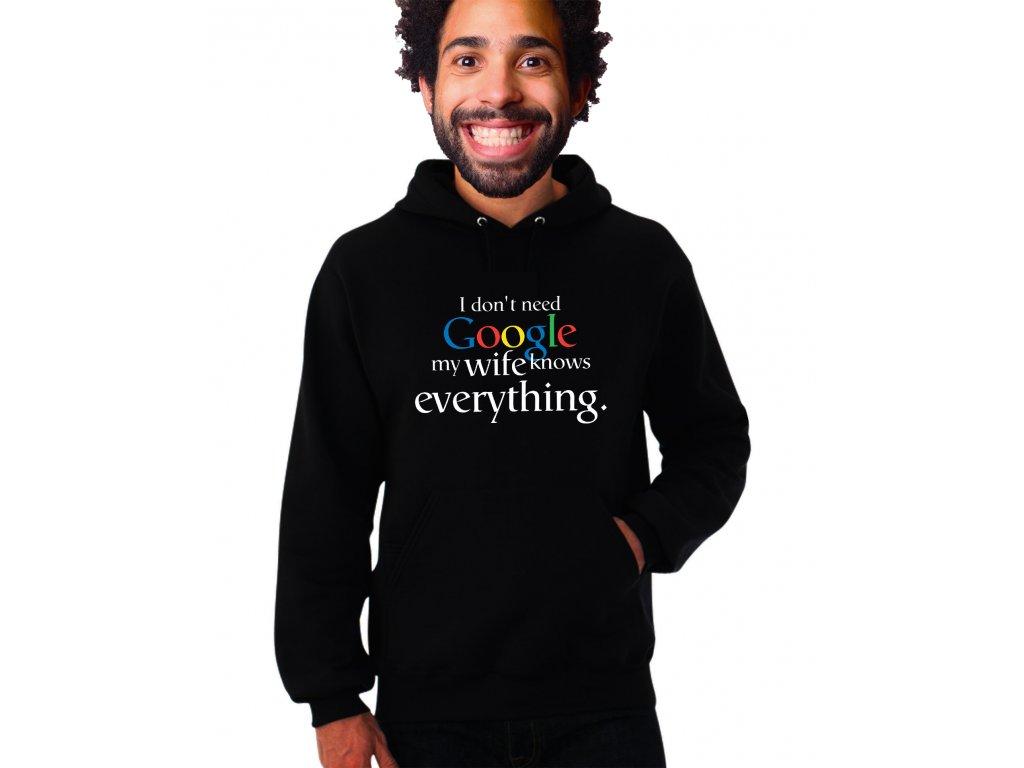 unisex černá mikina s kapucí nepotřebuji google moje žena ví všechno
