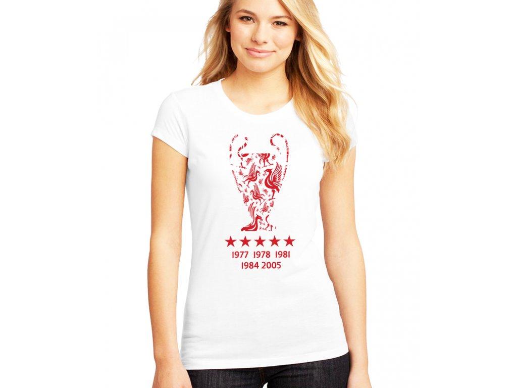 dámské bílé tričko liverpool fc Vítězové Ligy mistrů