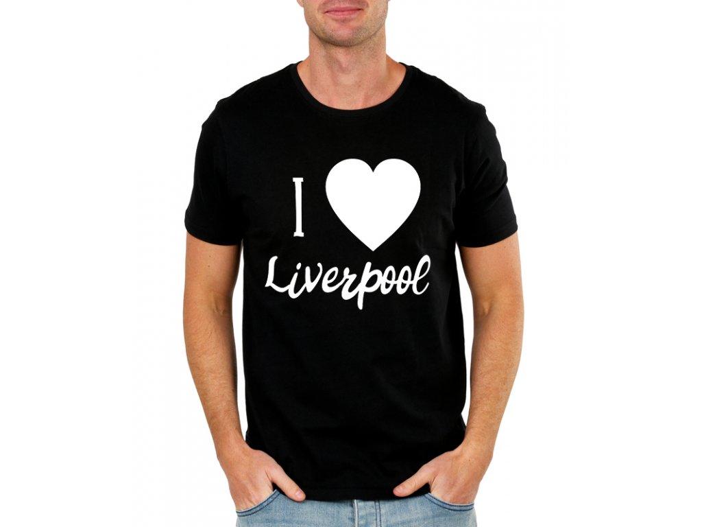 pánské černé tričko Miluji Liverpool fc